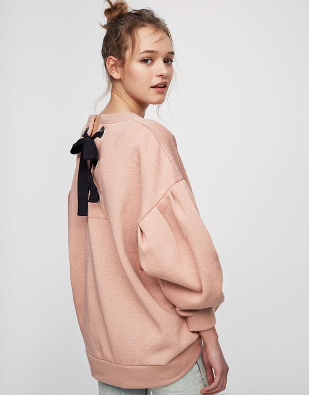 Oversize-Sweatshirt mit Rückenschnürung