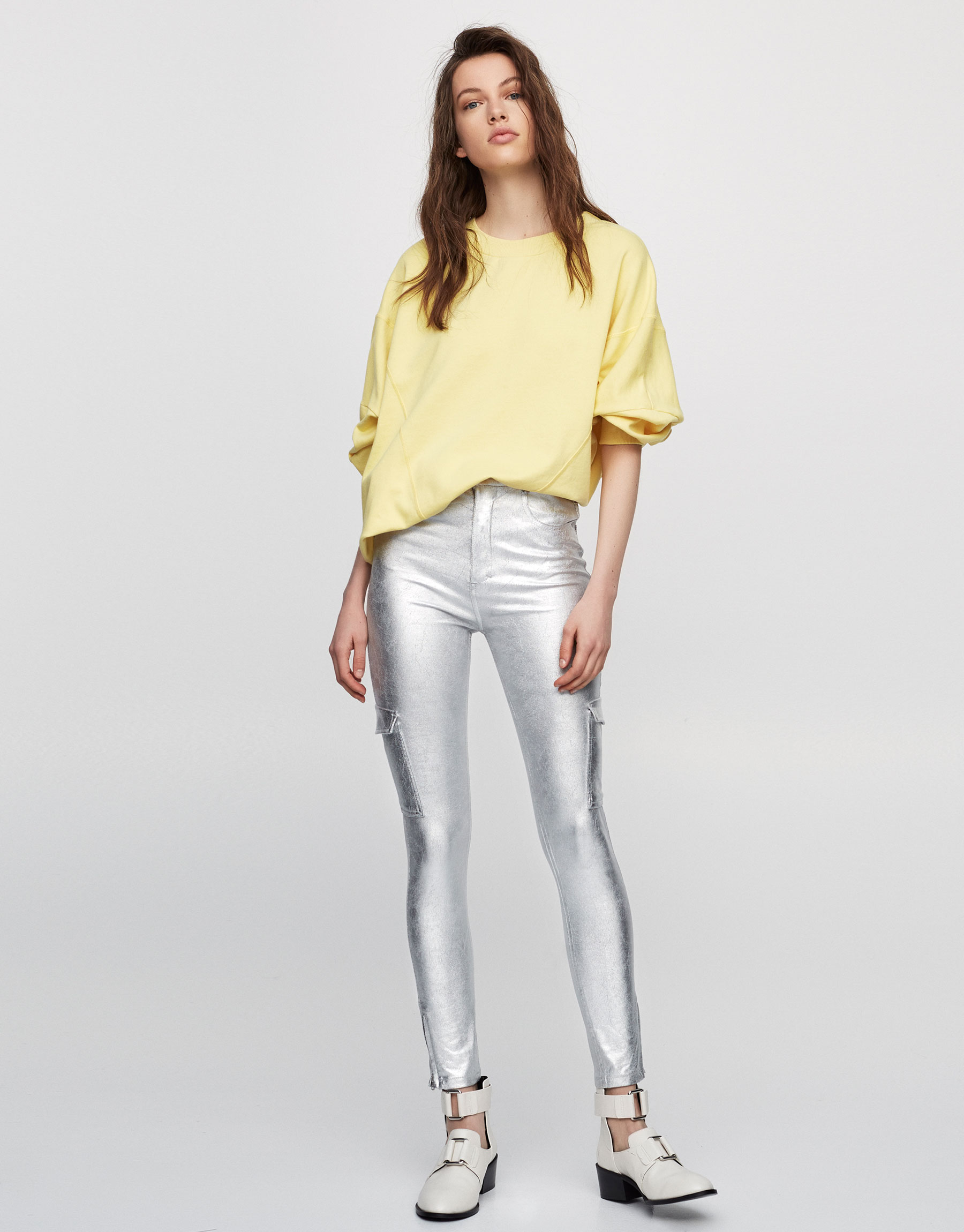 Skinny fit metallic cargo trousers