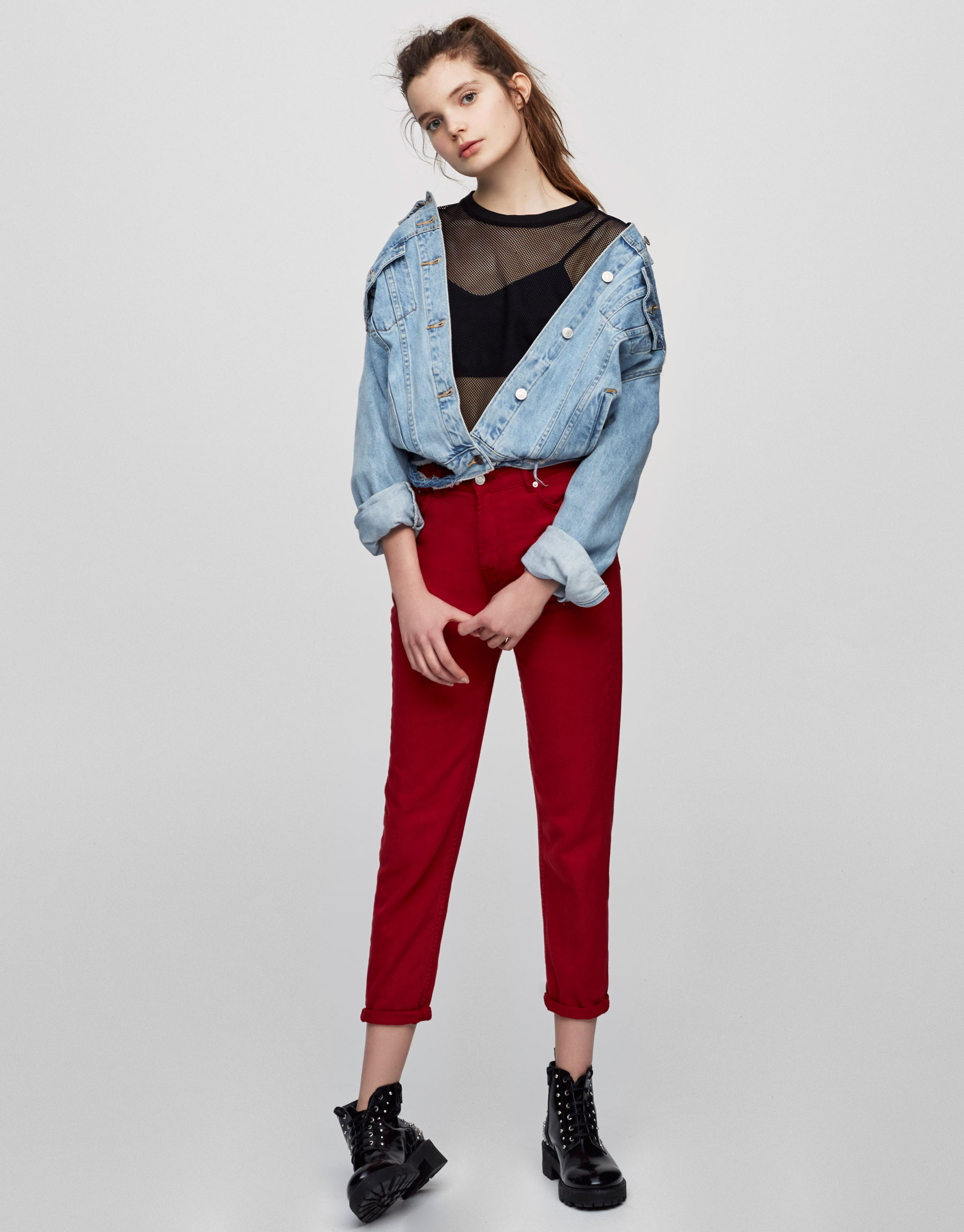 Colour mom fit jeans