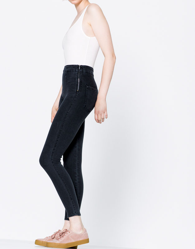 High rise jeans with side zip