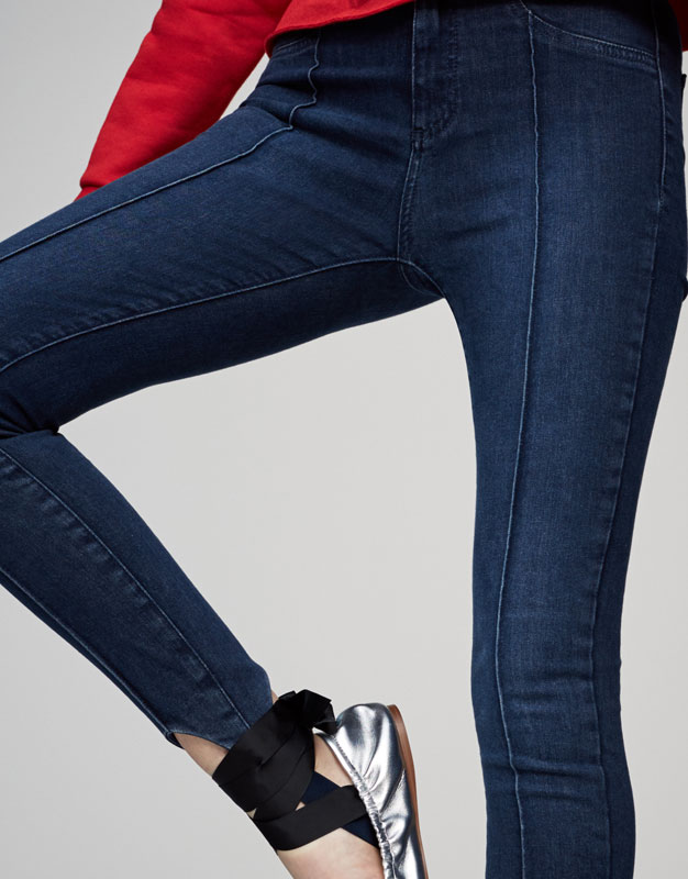 Skinny high waist stirrup jeans