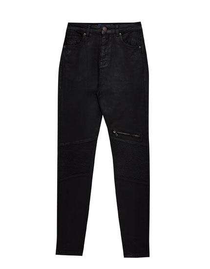 Skinny high waist waxed jeans