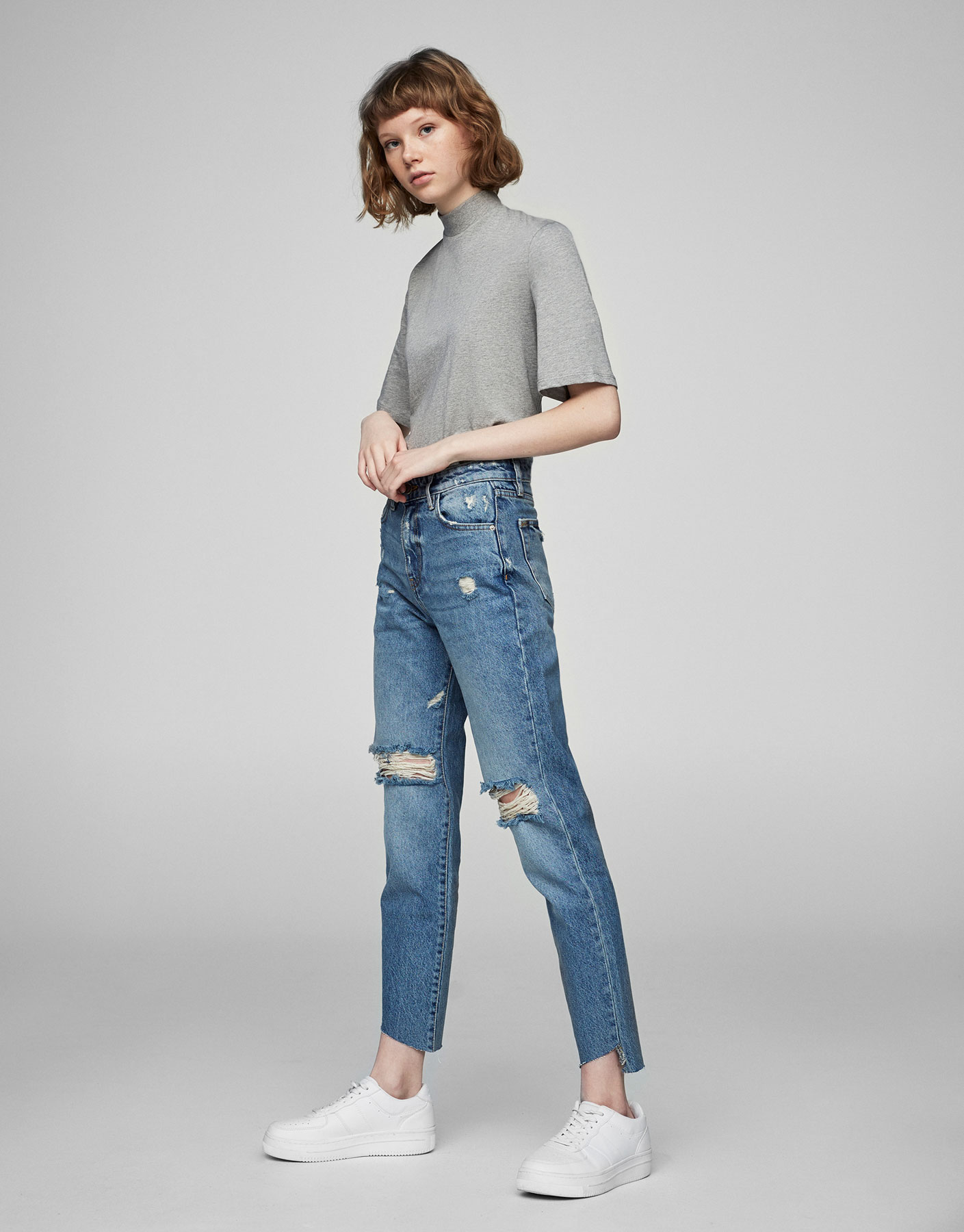 Jean déchiré mom fit