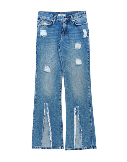 Flared jeans with front slit