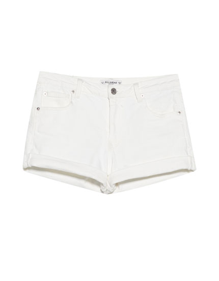 Mid-rise rolled-up cuff shorts