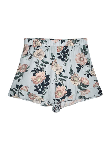 Floral print shorts with frilled trim