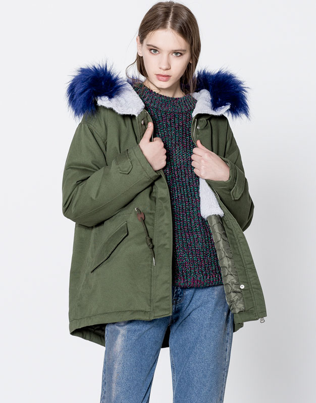 Colourful furry hooded parka