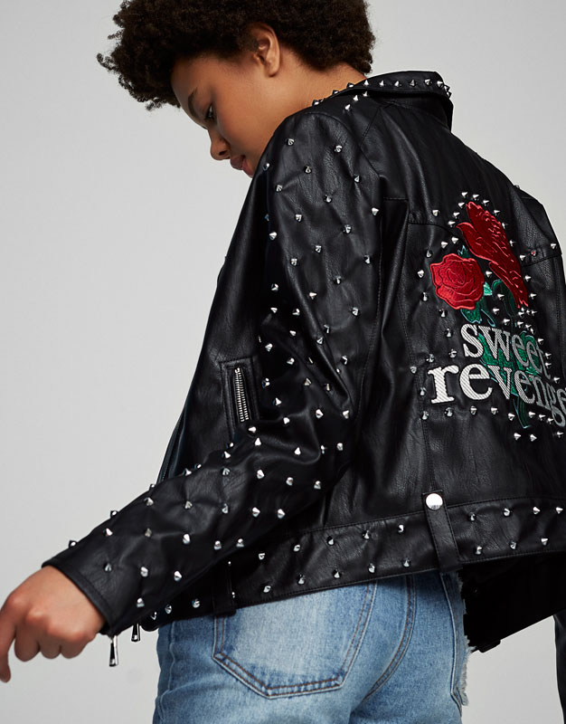 Faux leather jacket with studs and embroidery
