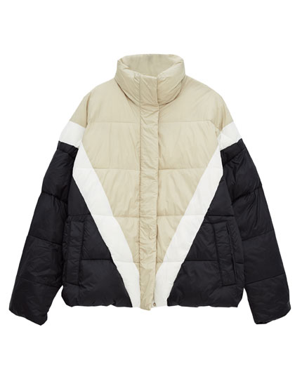 Puffer jacket with panels