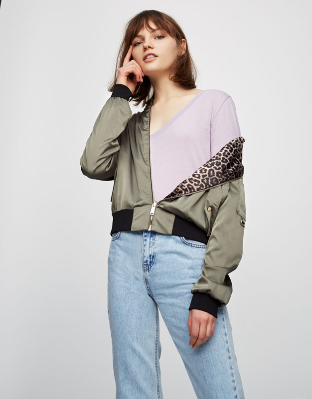 Double sided leopard-print bomber jacket