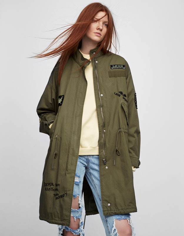 Long safari jacket with embroideries