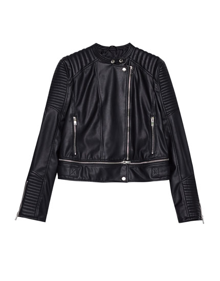 Faux leather jacket with zipped hem