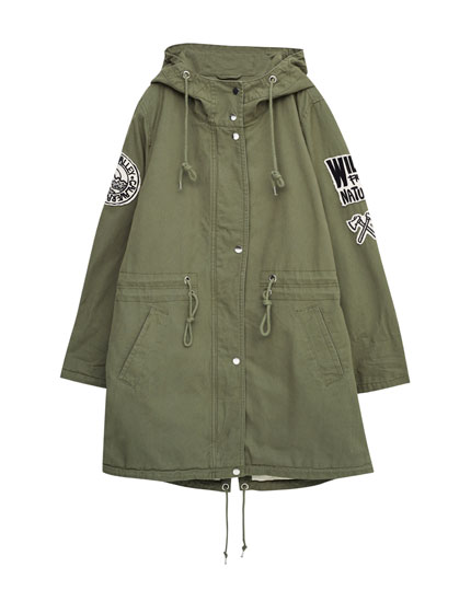 Quilted parka with patches