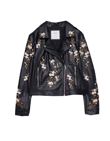 Faux leather jacket with flower embroidery