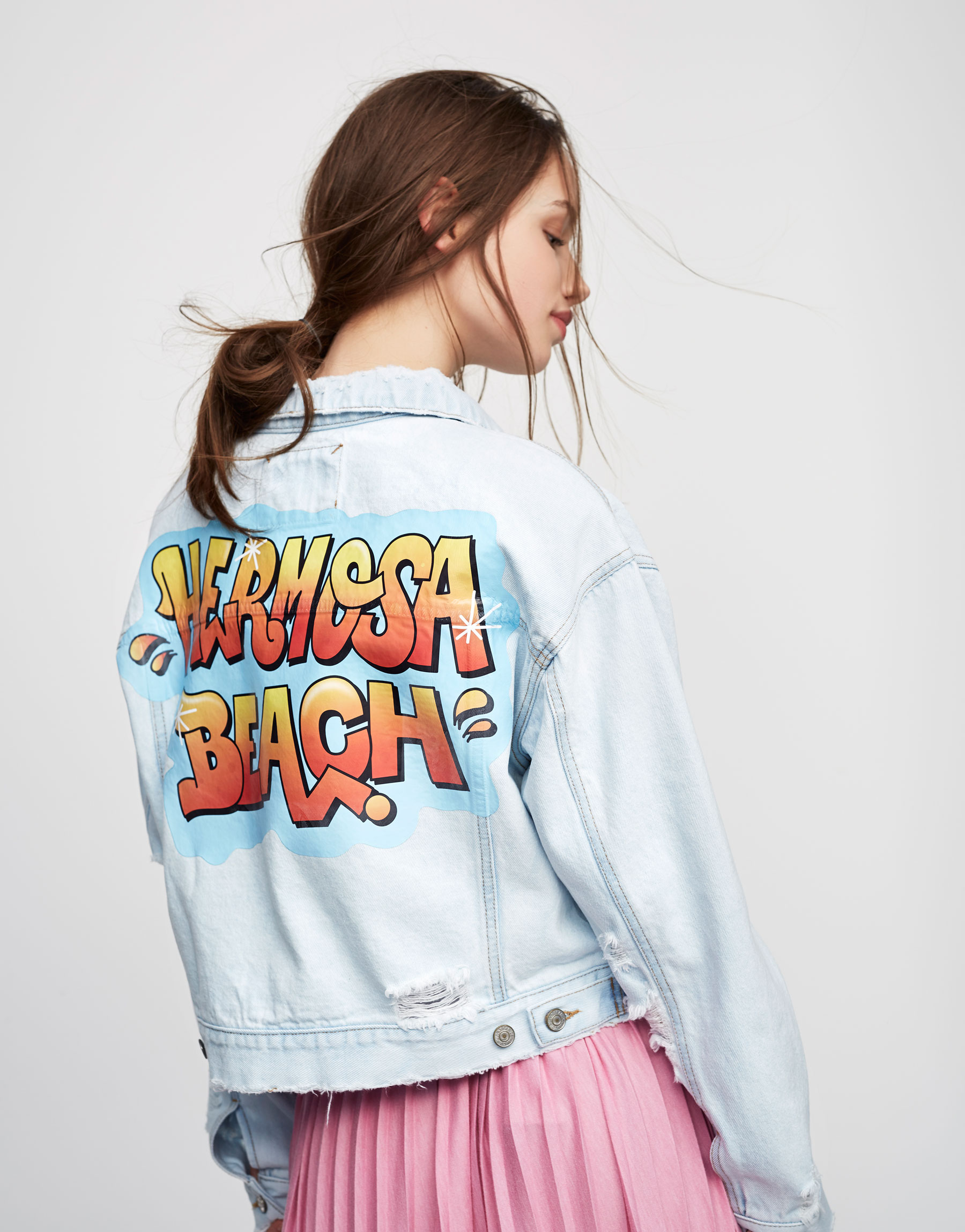 Denim jacket with back graffiti