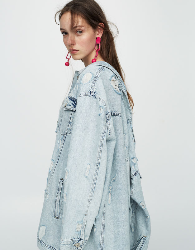 Long fit ripped denim jacket
