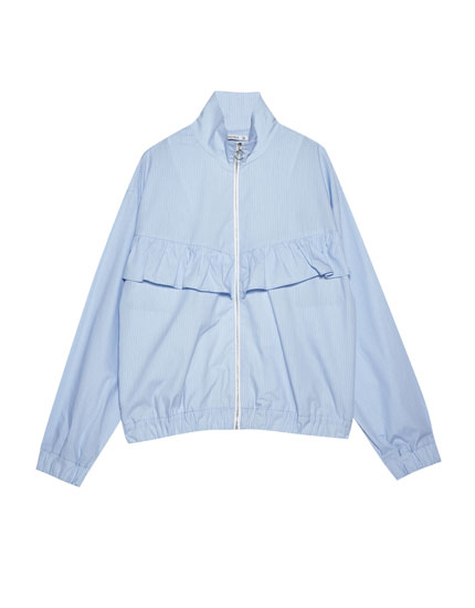 Poplin jacket with frill
