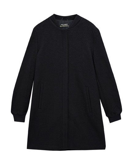 Cloth coat with bomber collar