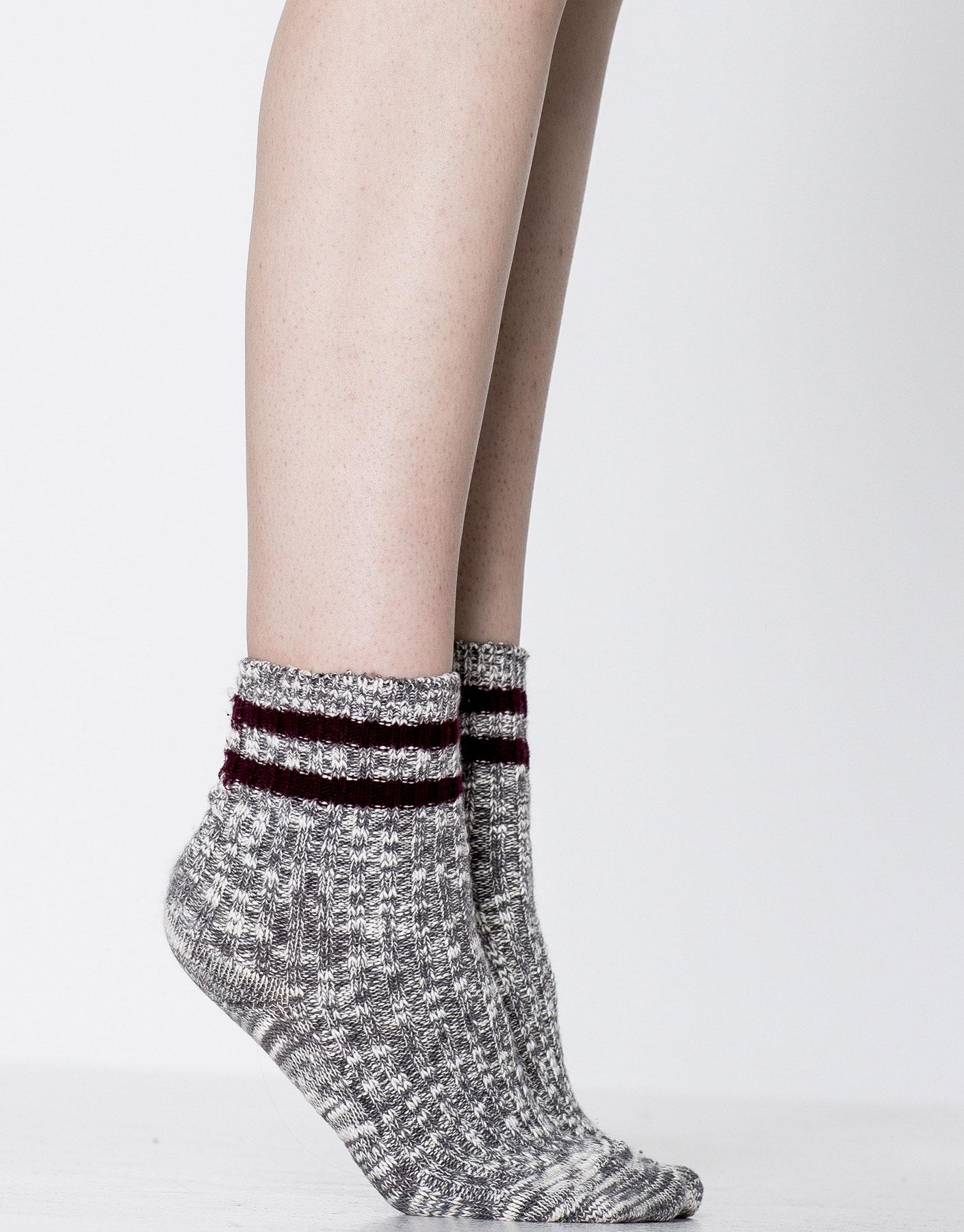 Maroon flecked socks