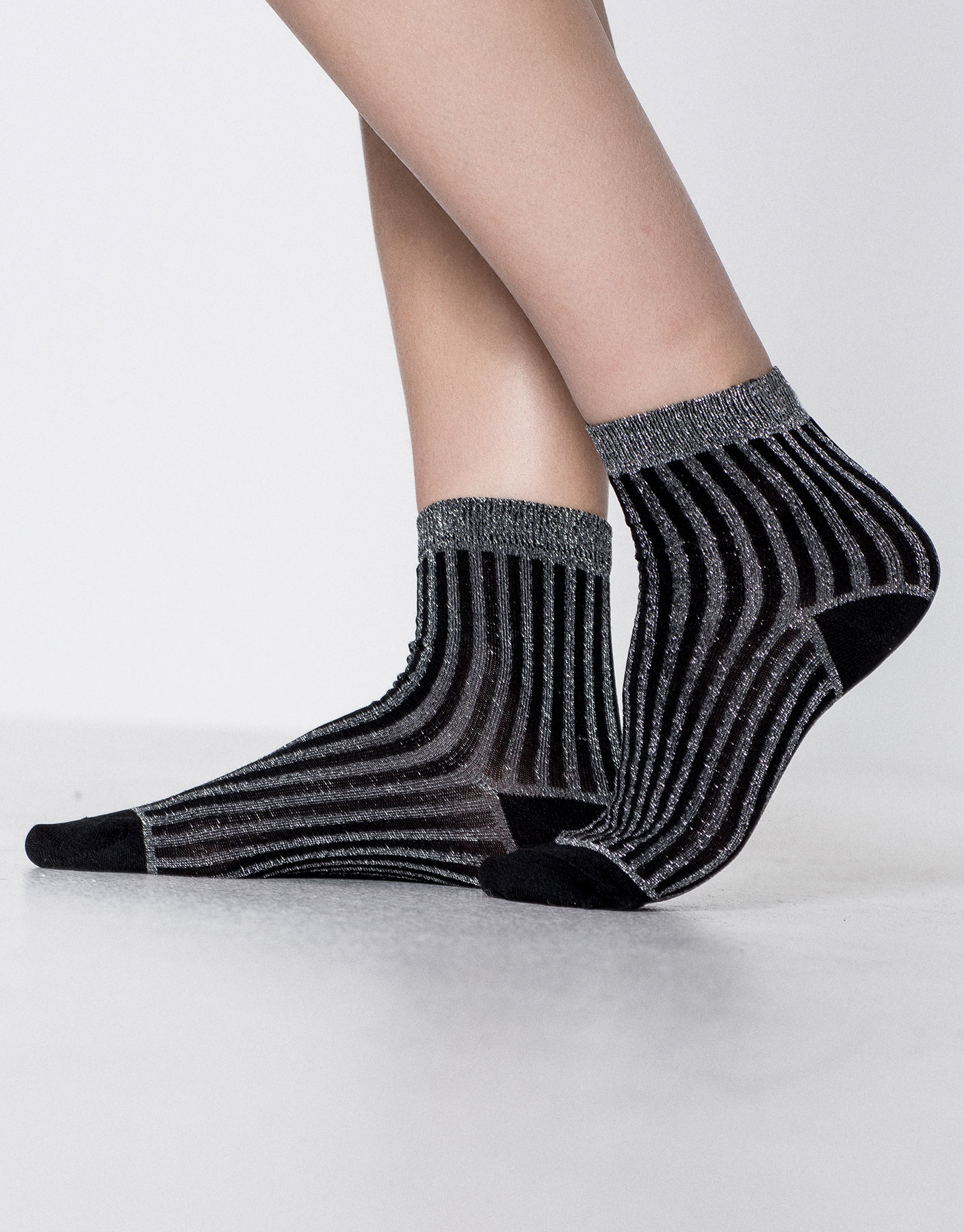 Striped shiny fabric socks