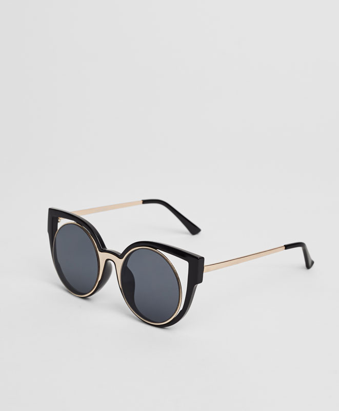 Black structural sunglasses
