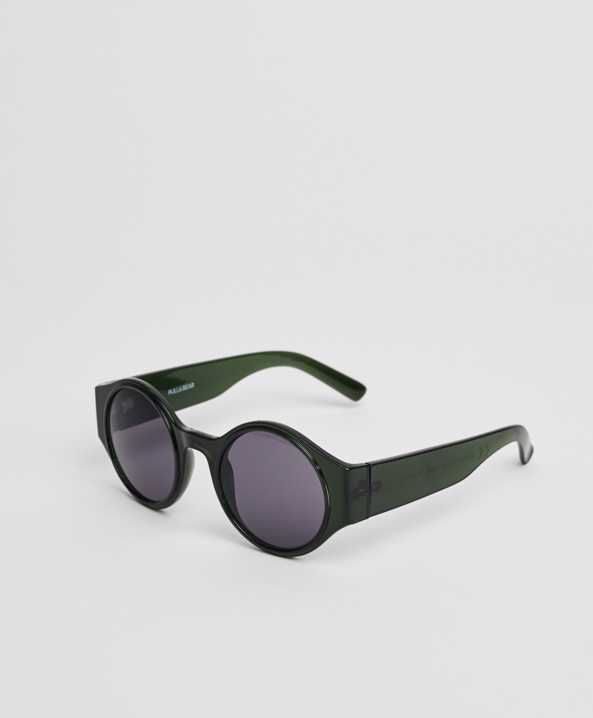 Round resin sunglasses with wide arms