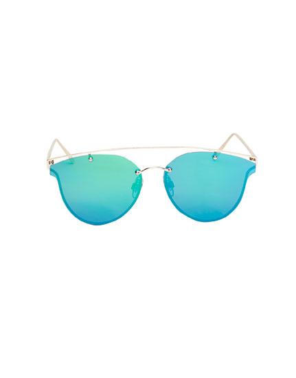 Gafas espejo verde tipo aviador
