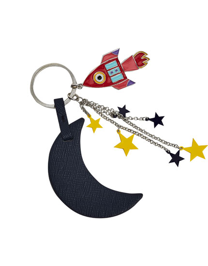 Moon and space keyring