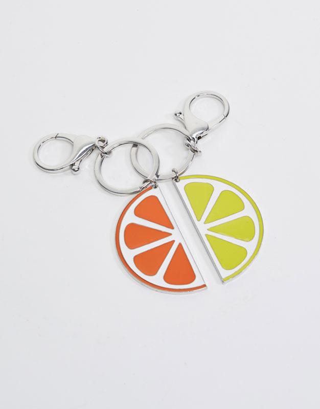Pair of orange and lemon halves keychains