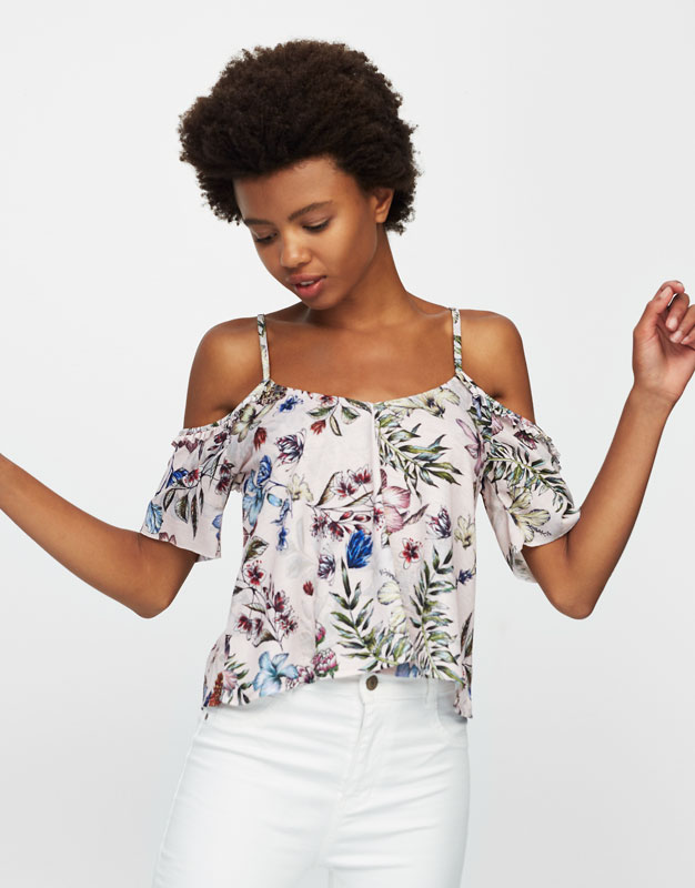 Floral T-shirt with cut out shoulders