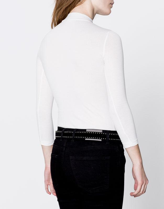 Plain high neck bodysuit