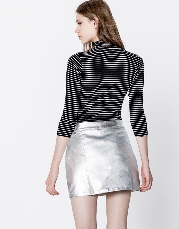 Striped high neck bodysuit