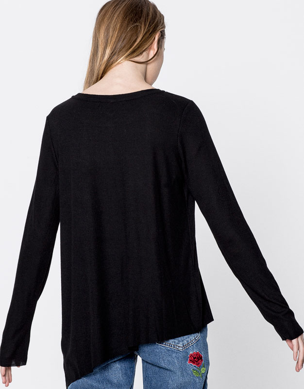 Basic ribbed T-shirt with uneven hem