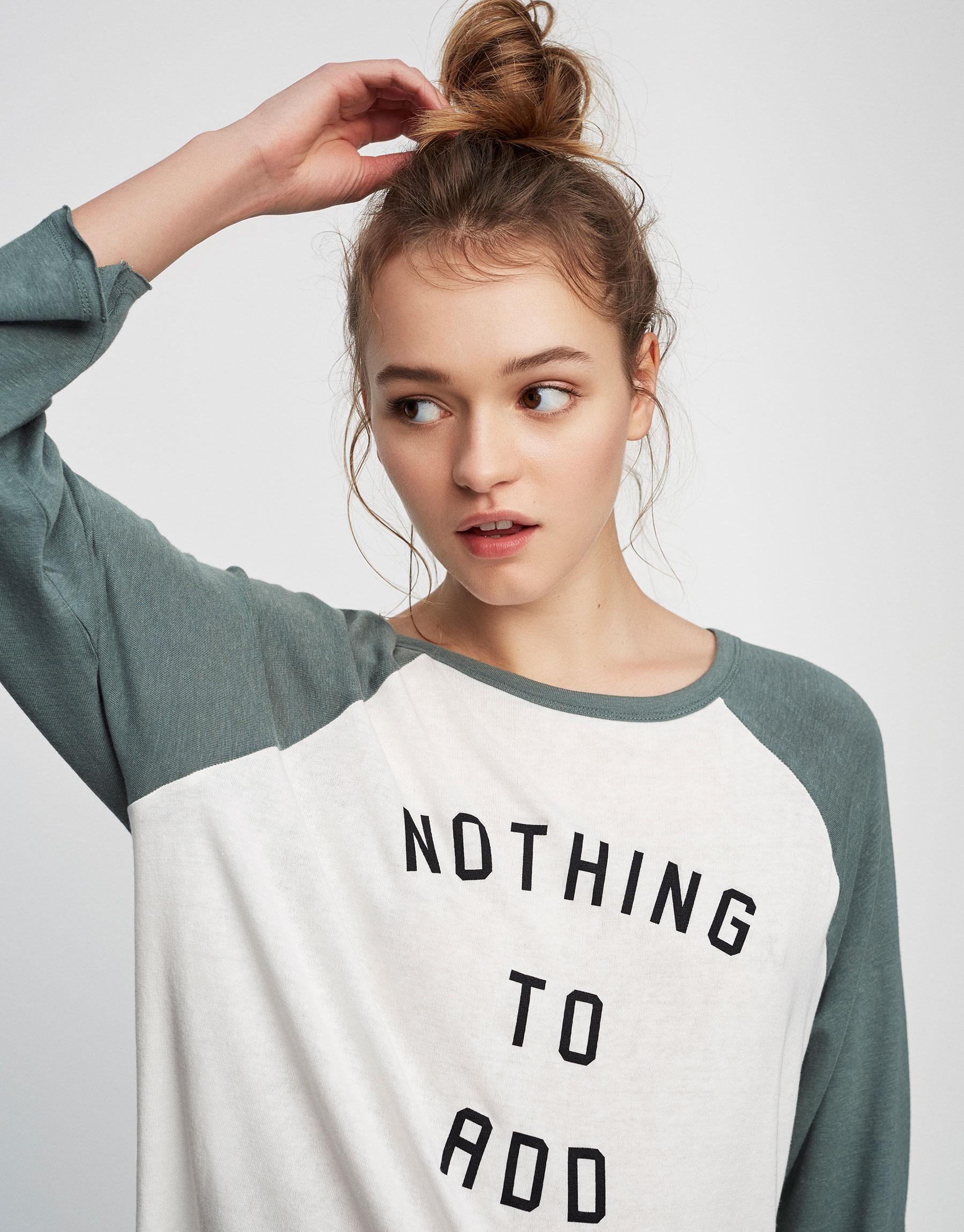 Shirt mit Schriftzug und Dreiviertelärmeln