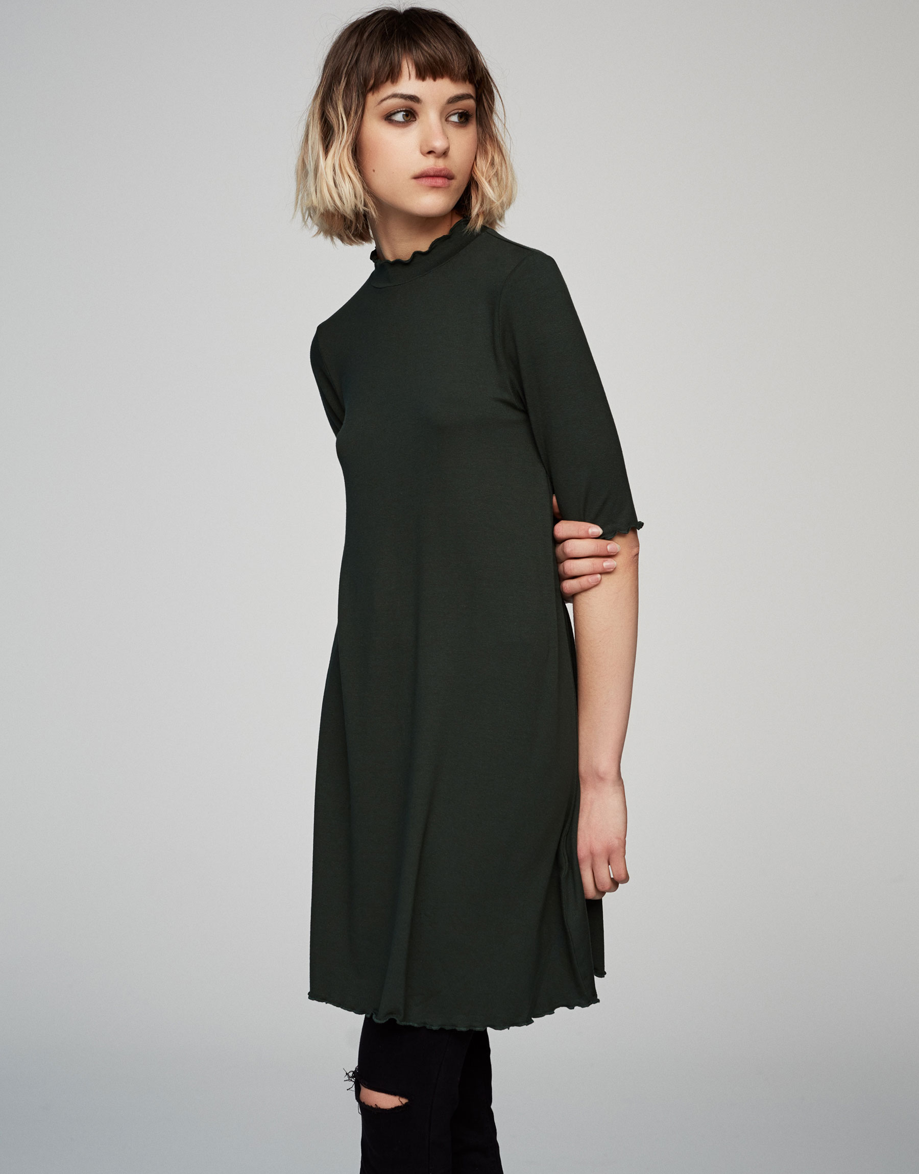 High neck short sleeve dress