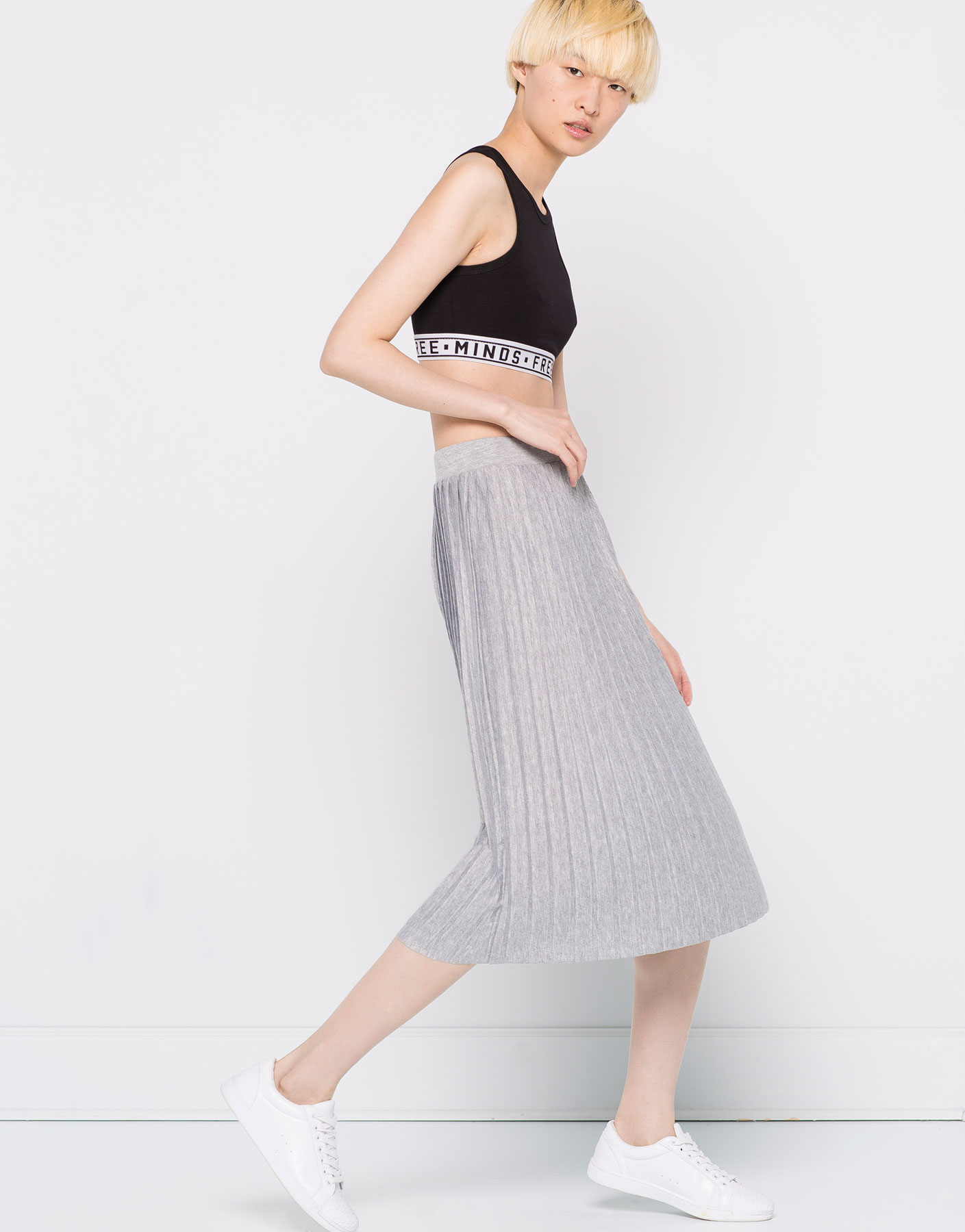 Fine pleat midi skirt