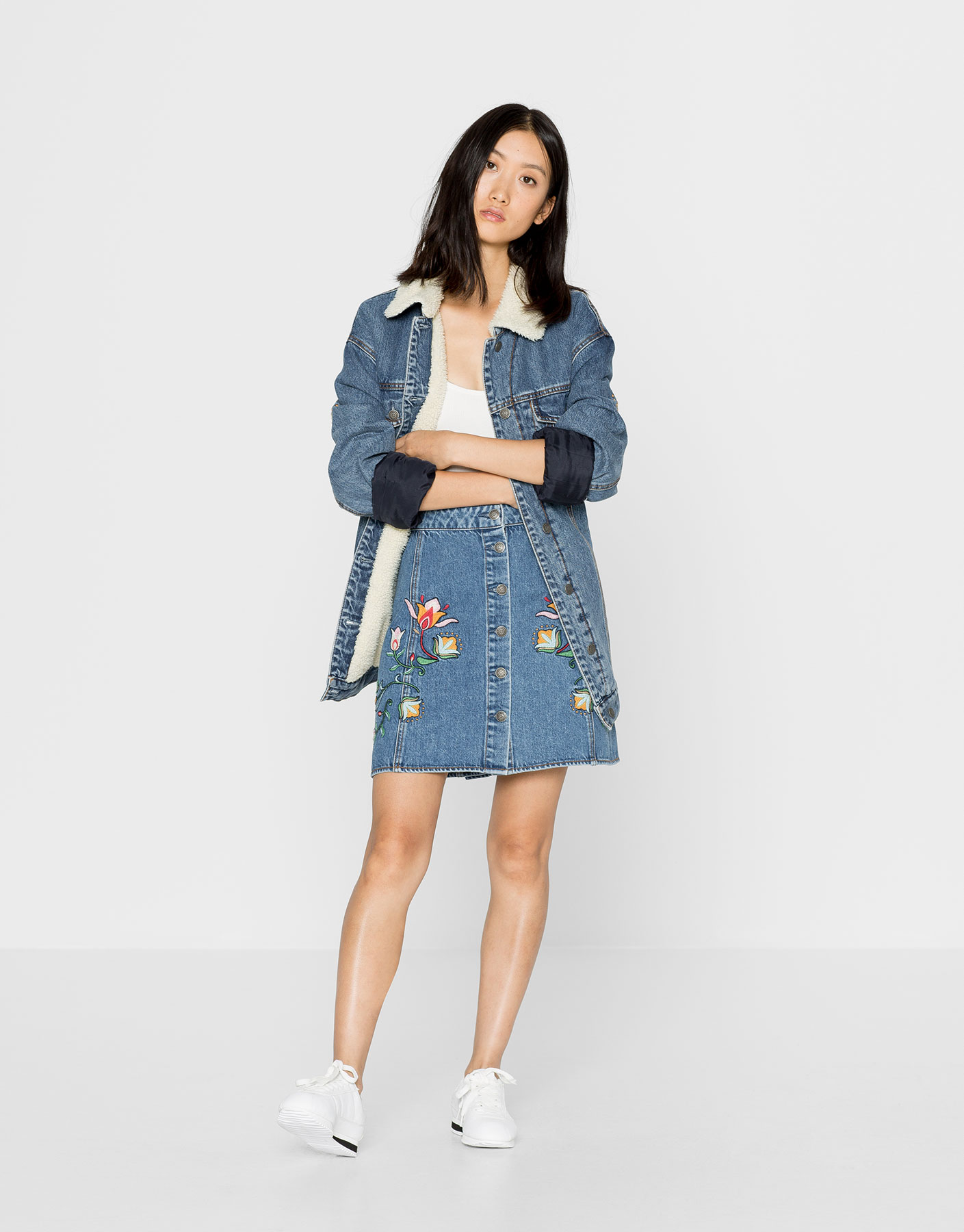 Denim Skirt With Embroidered Flowers