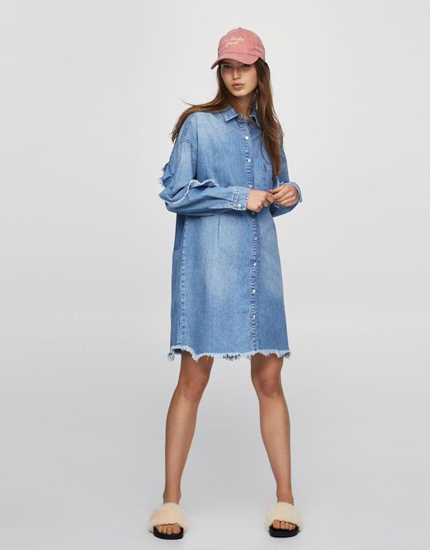 Oversized shirt dress with ruffles