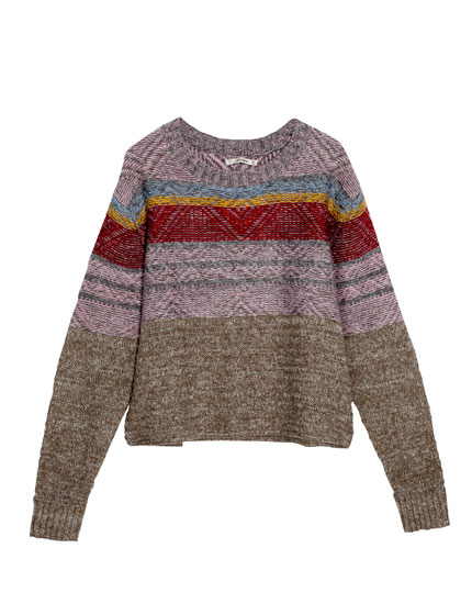 Jacquard stripes sweater