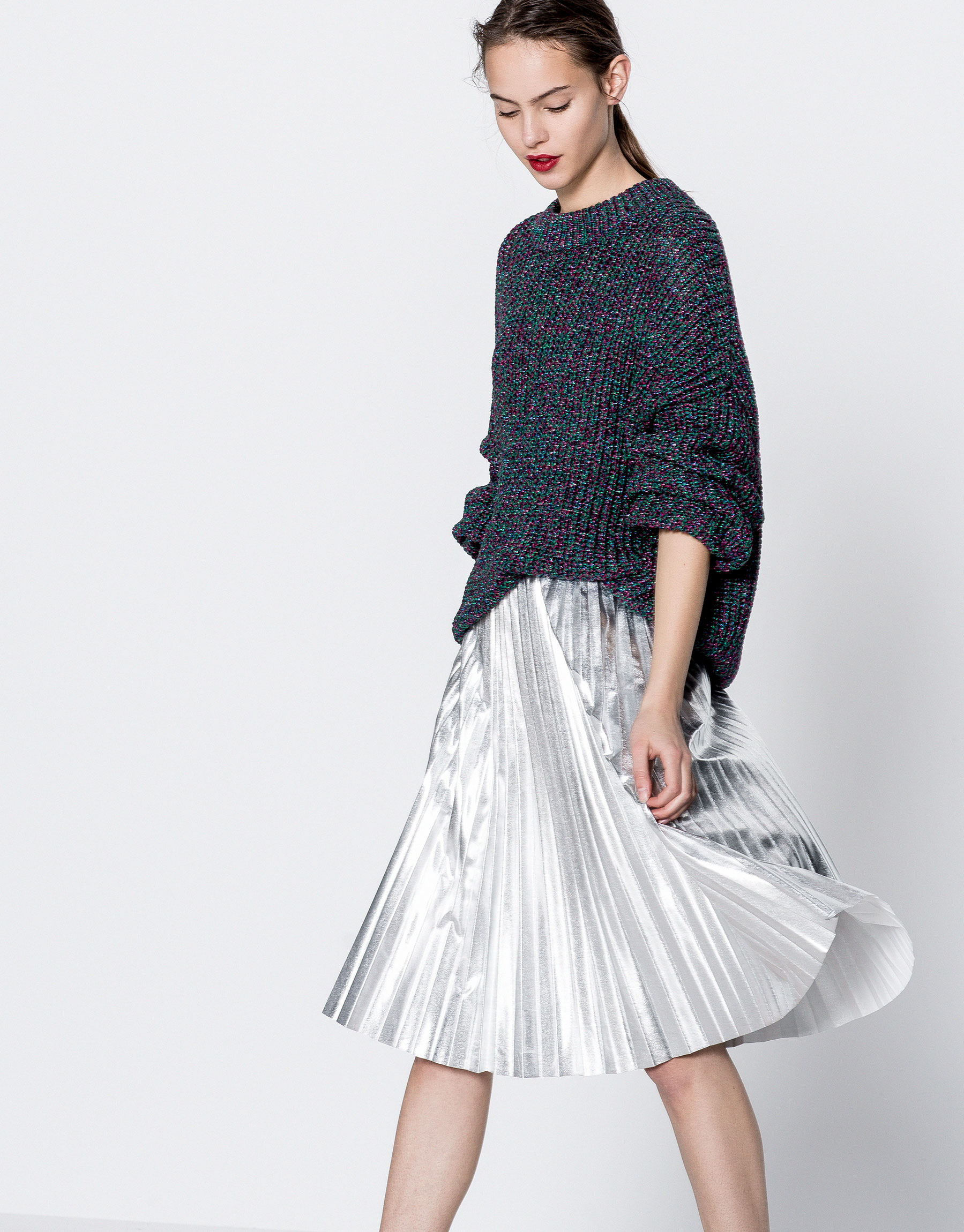 Shiny fabric oversized sweater