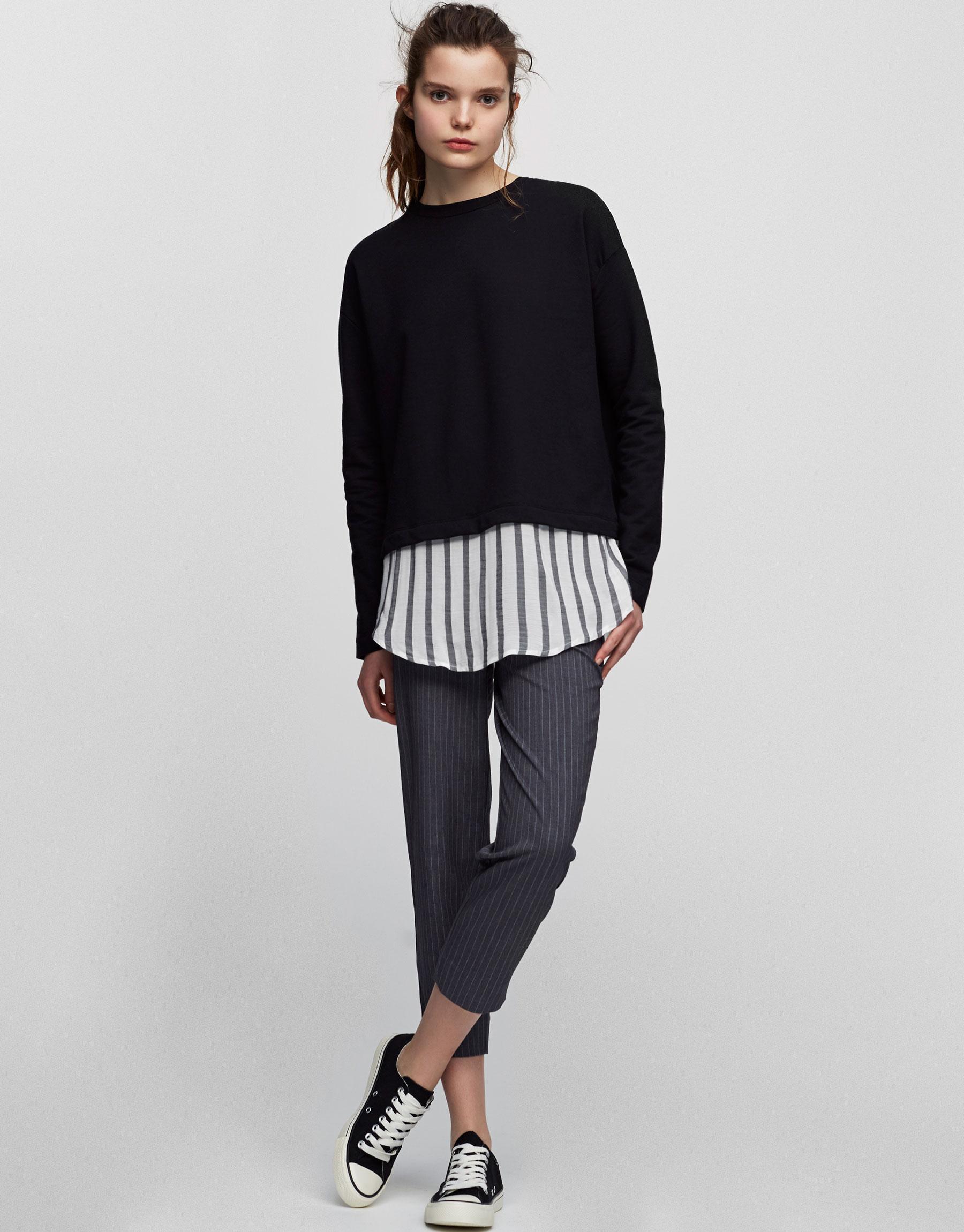 Sweatshirt mit fließendem Hemdsaum
