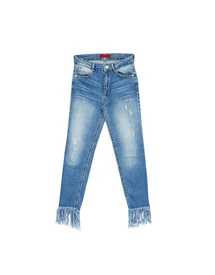 Skinny fit frayed hem jeans