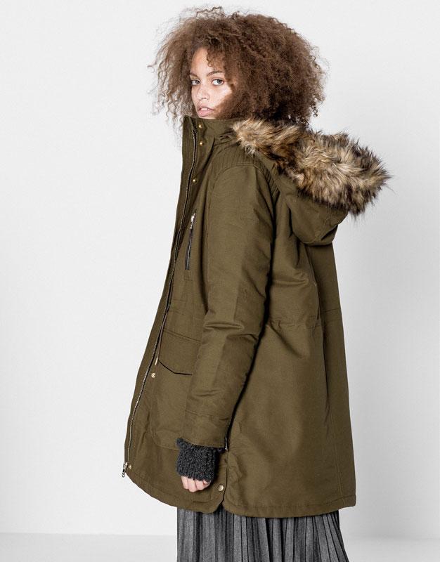 Parka coton doublure fourrure - Manteaux et blousons - Vêtements - Femme - PULL&BEAR France