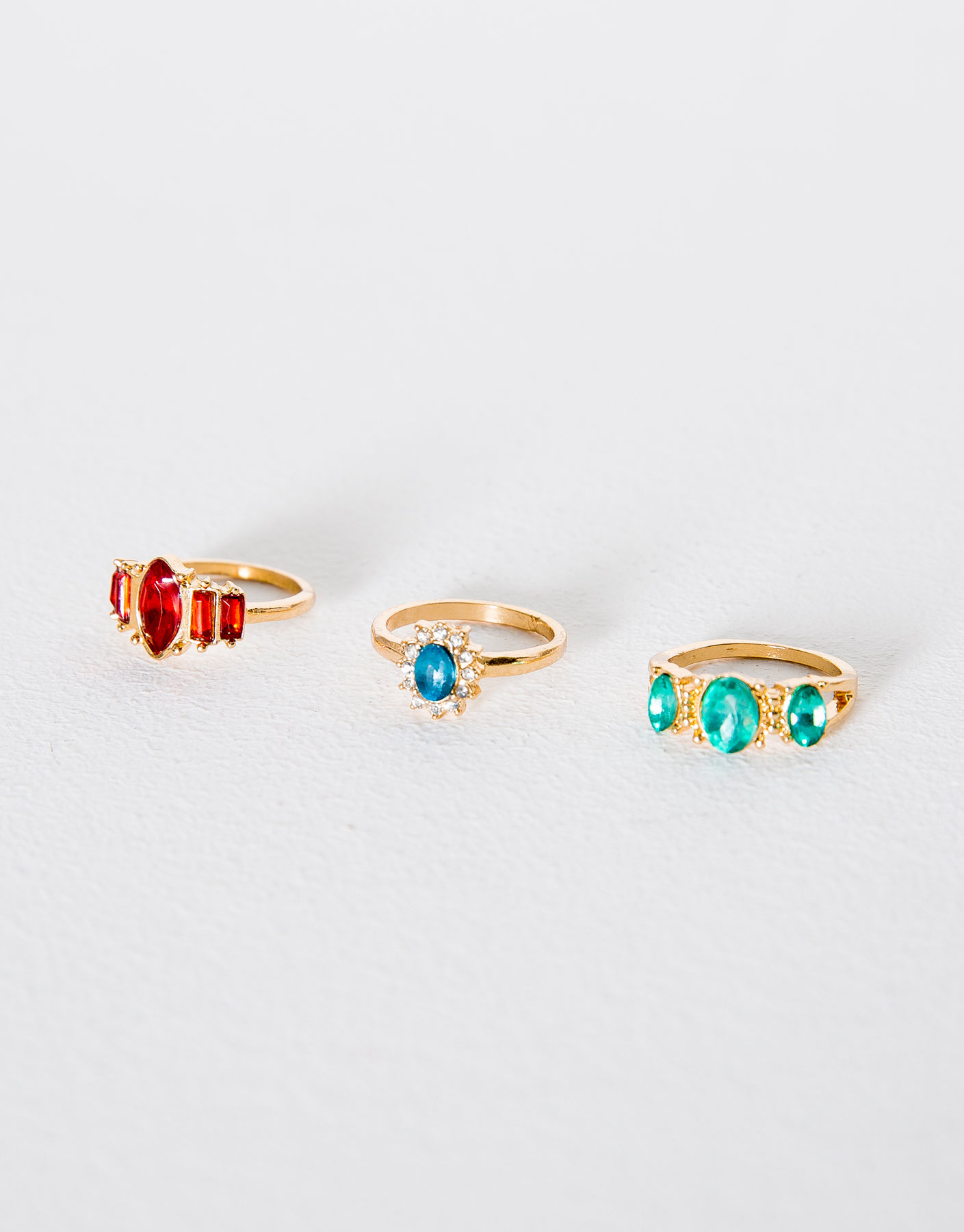 3-Pack of gem rings