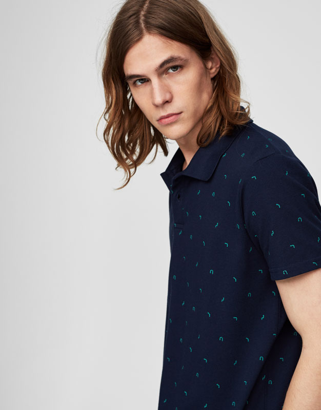 Navy blue printed polo shirt