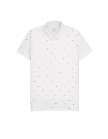 All over print white polo shirt