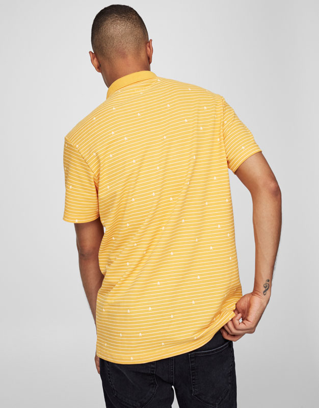 Mustard-coloured striped polo shirt