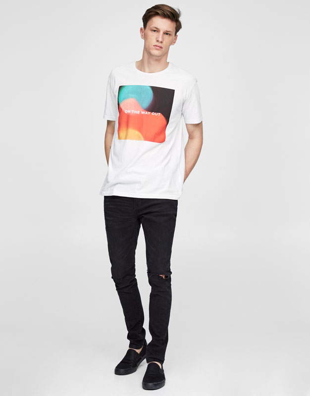 White T-shirt with front graphic