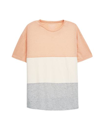 Textured weave T-shirt with coloured bands