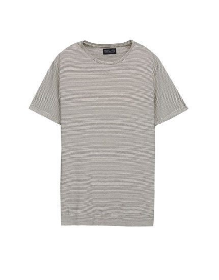 Thin-striped T-shirt with turn-up sleeves